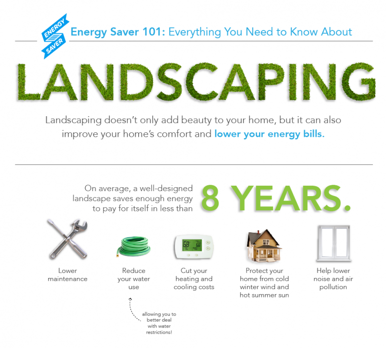 Figure 2. Energy Saver 101 Infographic: Landscaping. Credit: US DOE – EERE / Infographic by Sarah Gerrity.