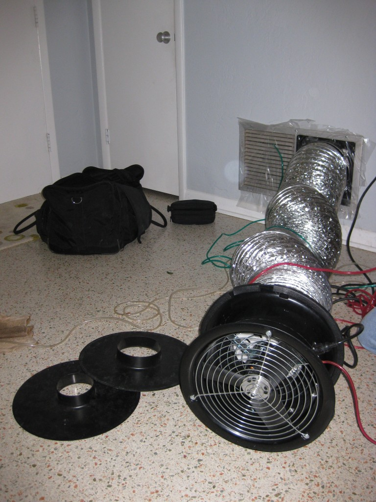 Part of the set up for the duct airtightness test. Credit: PREC