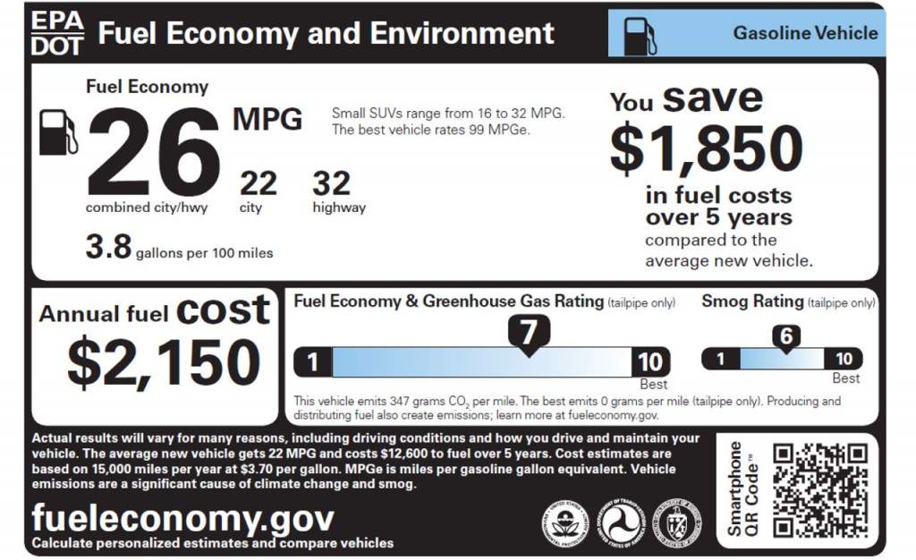Figure 2. Window sticker for a gasoline-powered automobile. [Click image for full size version.]. Image: www.fueleconomy.gov.
