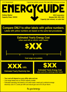 Figure 2. Sample transitional (new) EnergyGuide clothes washer label. Credit: Federal Trade Commission. [Click to enlarge]