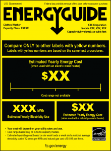 Figure 3. Sample transitional (new) EnergyGuide clothes washer label with ENERGY STAR logo. Credit: Federal Trade Commission. [Click to enlarge]