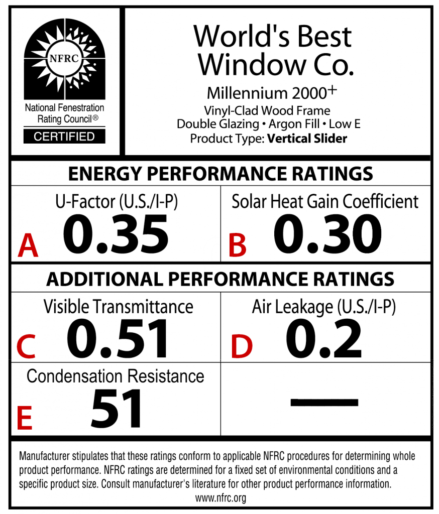 Figure 1. Sample NFRC label. Credit: Courtesy of the National Fenestration Rating Council. [Click thumbnail to enlarge.]