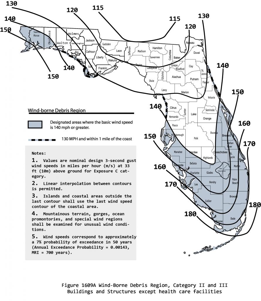 Figure 1: Wind-Borne Debris Region map of Florida. Credit: Florida Building Commission.