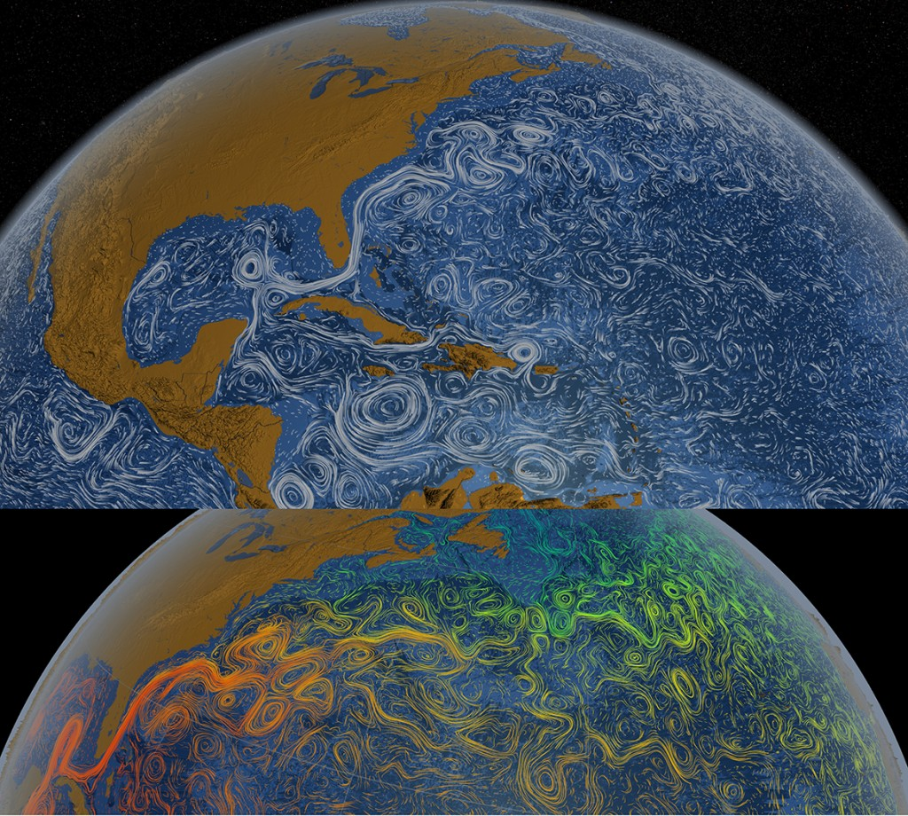 "Figure 2. Stills from NASA Data Visualization of ""Our Perpetual Ocean"": Gulf Stream Flows (Top) and Sea Surface Temperature (Bottom). [Click image for full size version.] (Credit: <a href=""http://svs.gsfc.nasa.gov/cgi-bin/details.cgi?aid=3913"" target=""_blank"">NASA/Goddard Space Flight Center Visualization Studio</a>)"