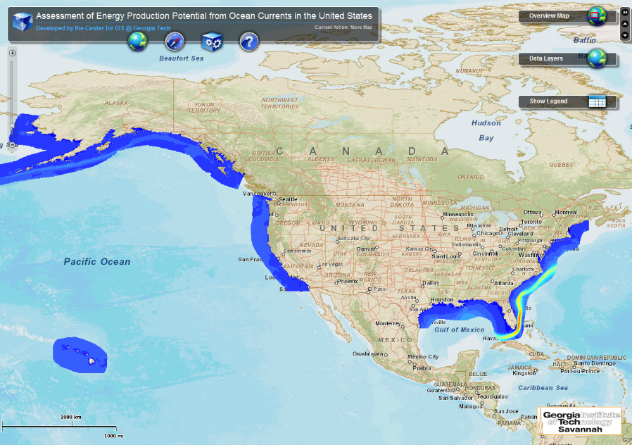 Figure 3. Mapping of U.S. Ocean Current Resource Assessment. [Click image for full size version.] (Credit: Georgia Tech)