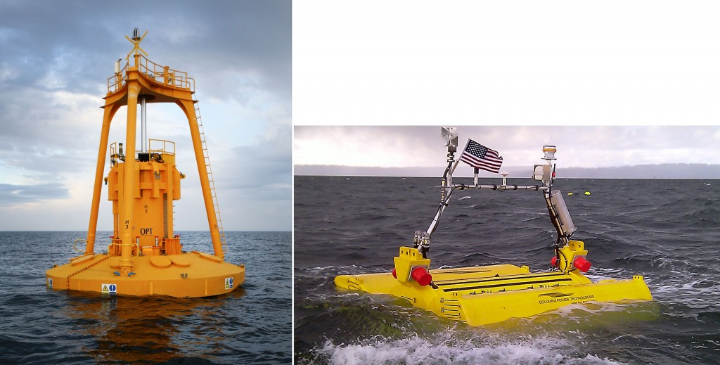 "Figure 6. Wave Energy Conversion Devices. Left: A ""Power Buoy"" Oscillating Water Column off the Coast of Scotland (Credit: Ocean Power Technologies, NREL 22857) and Right: A Point Absorber Wave Energy Converter off the Coast of Washington (Credit: Columbia Power Technologies, NREL 19381) [Click image for full size version.]"
