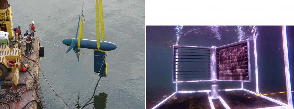 Figure 7. Tidal Current Conversion Systems Being Tested. Left: A Horizontal Device Being Submerged (Credit: Verdant Power, NREL 17209) and Right: A Vertical MHK Turbine (Credit: Crowd Energy). [Click image for full size version.]
