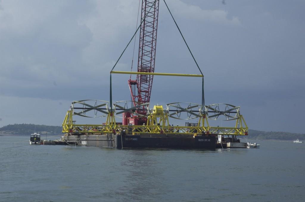 Figure 8. Installation of a Helical Tidal and Deep-River Current Conversion System. [Click image for full size version.] (Credit: Ocean Renewable Power Company)