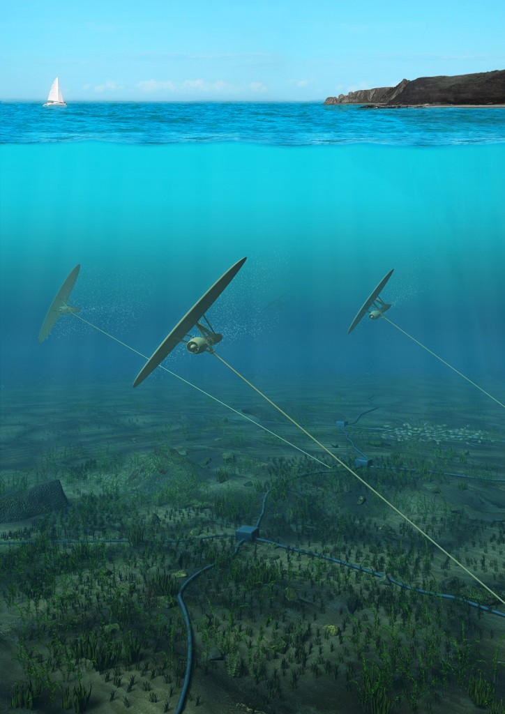 "Figure 9. CECs Tethered to the Ocean Floor and ""Flying"" in the Currents. [Click image for full size version.] (Credit: Minesto)"