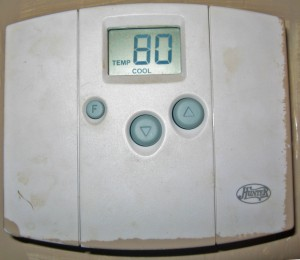 Figure 2. A non-programmable digital thermostat. Notice the simple button interface.