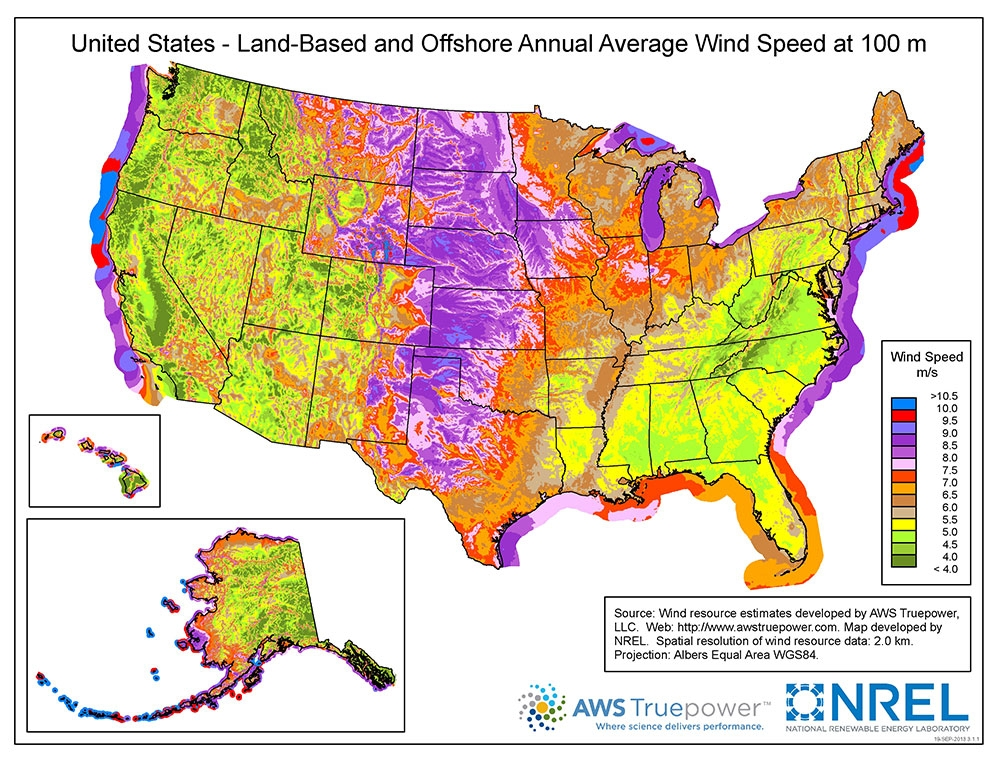 Figure 5. Land-Based and Offshore Annual Average Wind Speeds in the U.S. at 100 Meter Hub Height